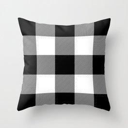 Big Black and White Buffalo Plaid Throw Pillow