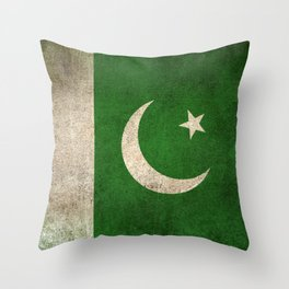 Old and Worn Distressed Vintage Flag of Pakistan Throw Pillow