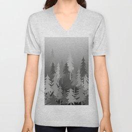 Dark Fir trees in foggy landscape - grey white Unisex V-Neck