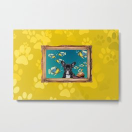 French Bulldog in Frame with Fishes and snail - yellow Metal Print