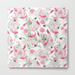 Flowered boho with flamingos Metal Print