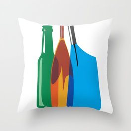 Rowing Oars Evolution in color Throw Pillow