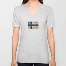 Old and Worn Distressed Vintage Flag of Finland Unisex V-Neck