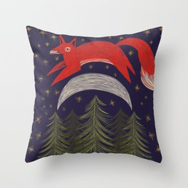 The Fox Jumped Over the Moon Throw Pillow