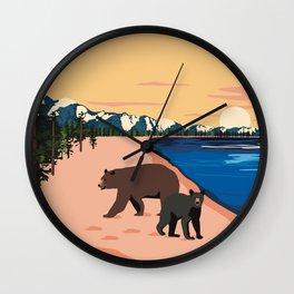 Beach Bears Lake Tahoe Wall Clock