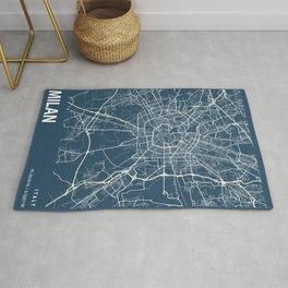Milan Blueprint Street Map, Milan Colour Map Prints Rug