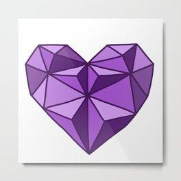 Geometric Diamond Heart - Amethyst Metal Print