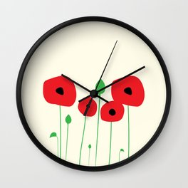 Red poppy love Wall Clock