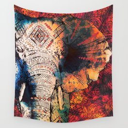 Indian Sketched Elephant Red Orange Asian Bohemian Hippie Elephants Art Wall Tapestry