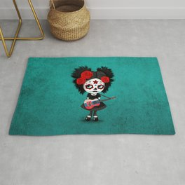 Day of the Dead Girl Playing Slovakian Flag Guitar Rug