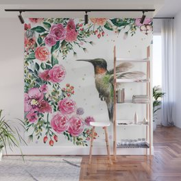 Hummingbird and Flowers Watercolor Animals Wall Mural