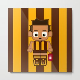 Super cute sports stars - Brown and Gold Aussie Footy Metal Print