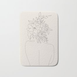 Woman with Flowers Minimal Line I Bath Mat