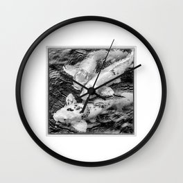 Taiwan, Three Carp Swimming in a Pond Wall Clock