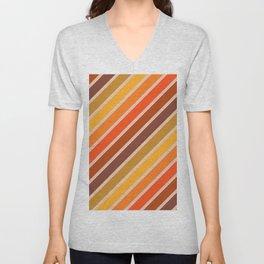 Retro Diagonal Stripes in Orange Ombre Unisex V-Neck