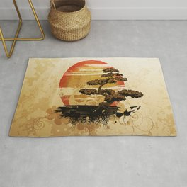 Bonsai Tree In The Sunset Rug