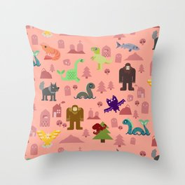 Cryptids of the PNW Throw Pillow