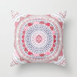 Red & Leisure Blue Mandala Throw Pillow