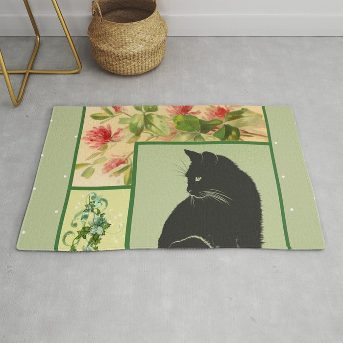 Patchwork Flowers and Cat Rug