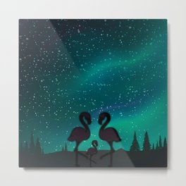Flamingo Family Out For A Midnight Stroll Metal Print