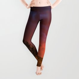 Fire Within - Red Sky and Rainbow Over Lone Tree on Great Plains Leggings