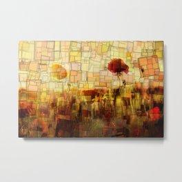 Poppies in the Sun Mosaic Metal Print