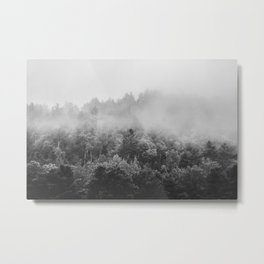 Landscape Photography | Forest Fog | Black and White Art | Minimalism Metal Print