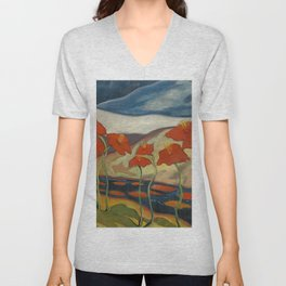 Spring Mountain Snows with Red Poppies & Calla Lilies by Blue River landscape by Zolote Palugyay Unisex V-Neck