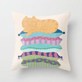 Sleepy Kitty Throw Pillow