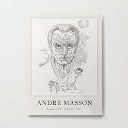 Poster-Andre Masson-Portrait of a man. Metal Print