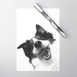 Black and White Happy Dog Wrapping Paper