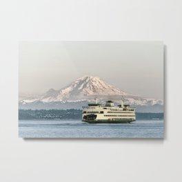 Seattle Bainbridge Island Ferry with Mount Rainier Metal Print
