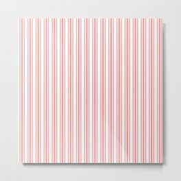 Trendy Large Coral Rose Pastel Coral French Mattress Ticking Double Stripes Metal Print