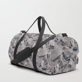 Dragonflies, Butterflies and Moths With Plants on Grey Duffle Bag