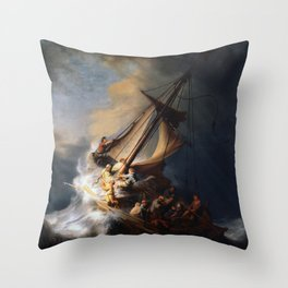 Stolen Painting - The Storm on the Sea of Galilee by Rembrandt Throw Pillow