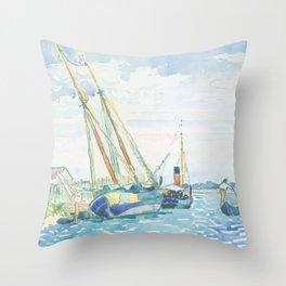 Marine Scene (Boats near Venice) by Henri-Edmond Cross1903, French Throw Pillow