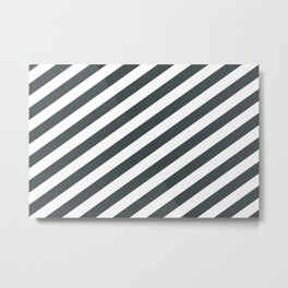 PPG Night Watch Pewter Green & White Stripes Fat Angled Lines - Stripe Pattern Metal Print