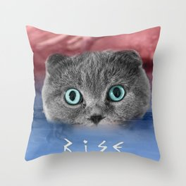 Scottis Fold Cat- Kitten Katy Throw Pillow