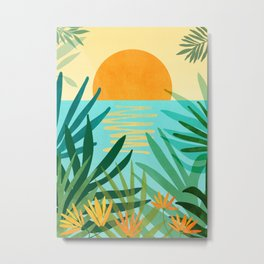 Tropical Ocean View / Landscape Illustration Metal Print