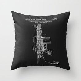 AR-15 Semi-Automatic Rifle Patent - Black Throw Pillow
