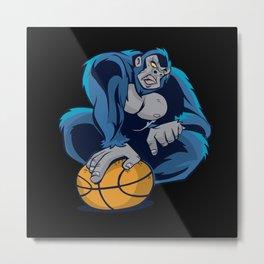 Basketball Gorilla Metal Print