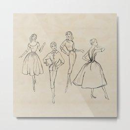 Vintage Fashion Sketches Metal Print