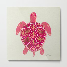 Sea Turtle in Pink & Gold Metal Print