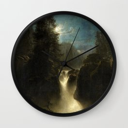 Waterfall in the Italian Countryside by Oswald Achenbach Wall Clock