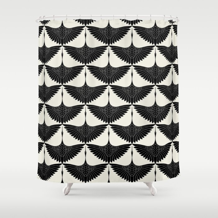 CRANE DESIGN - pattern - Black and White Duschvorhang