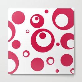 Circles Dots Bubbles :: Geranium Inverse Metal Print