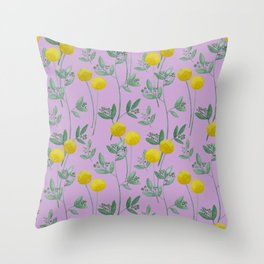 Eucalyptus and BillyBob's with Purple Background Throw Pillow