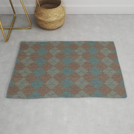 Dark Blue Brown Checkered Knitted Weaving Rug
