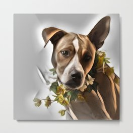 Pit Bull lover, a portrait of a beautiful  Pit Bull with a flower garland Metal Print