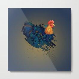 Cartoon rooster illustration with grunge ink splatters Metal Print